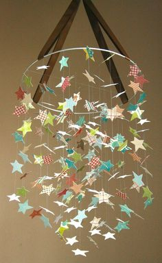 Star Mobile Kit by littledreamersinc #Star #Mobile #littledreamersinc | Great for a party or kid's room, you could add fairy lights for a special touch.
