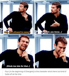 "they asked the actors/actresses on the red carpet one night who was most likely to swear randomly ""theo.all the way."""
