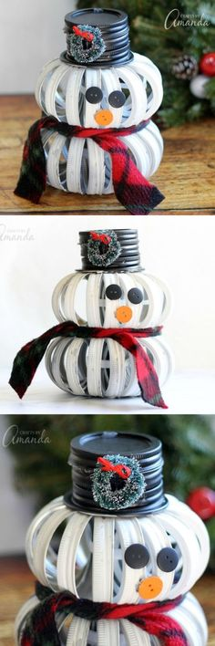 This mason jar lid snowman is an adorable holiday craft! Part rustic, part moder… This mason jar lid snowman is an adorable holiday craft! Part rustic, part modern, it's different from any Christmas decor you can buy in a store. Snowman Crafts, Christmas Projects, Holiday Crafts, Christmas Holidays, Christmas Decorations, Christmas Ornaments, Christmas Snowman, Homemade Decorations, Snowman Wreath