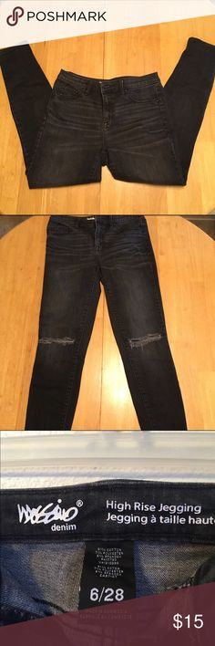 Black high-waisted jeggings Super stretchy high-waisted jeggings originally from Target. These jeans are extremely comfortable. They have a slightly faded black wash, cut outs in the knees, and the length hits right at the ankle. No flaws Mossimo Supply Co Jeans Skinny