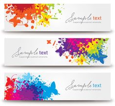"""""""#Splashed #Banners"""", #colorful #vector #design by DryIcons.com."""