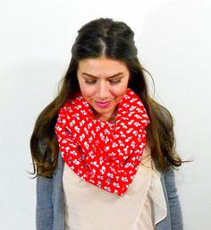 Poppy Floral Cotton Loop Scarf, Red, White, Lightweight, Cute, Fun, Flowers, Gift, Retro