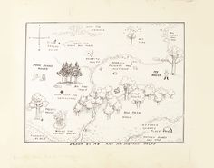 EH Shepard, The Original Map of the Hundred Acre Wood from Winnie-the-Pooh. Courtesy of Sotheby's London.