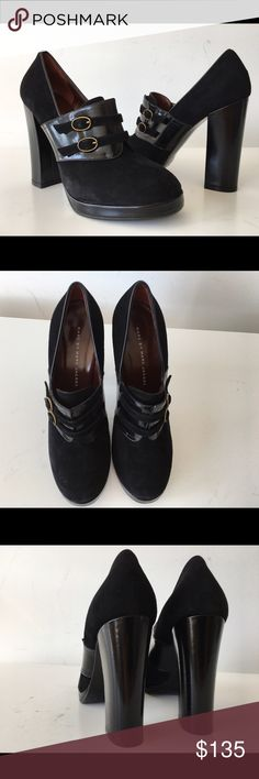 """MARC BY MARC JACOBS BLACK SUEDE PLATFORM BOOTIE MARC BY MARC JACOBS BLACK SUEDE PATENT LEATHER PLATFORM BUCKLE BOOTIE, SIZE 38, COVERED BLOCK HEEL 4.5"""", PLATFORM 0.50"""", MADE IN ITALY, BRAND NEW WITH BOX AND DUST BAG Marc by Marc Jacobs Shoes Ankle Boots & Booties"""