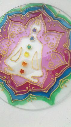 Mandala 7 chakras, vidrio 20cm