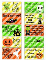 FREE Halloween Lunch Box Notes.  FREE Halloween Lunch Box Notes.  There isn't a download ling so I just clicked on the notes so they became  large and copy and pasted them into a Word Document.  Had to resize the pic as well.