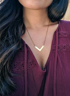 Brass Chevron Necklace Simple Necklace Dainty by boemjewelry