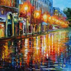 """Print on artistic cotton canvas. EARLY MORNING IN PARIS by Leonid Afremov. Size: 20""""""""x20"""""""""""