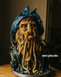 Davy Jones cake. Pirates of the Caribbean. #cake #fondant #spokanewa #wa #nwcakes #davyjones #piratesoftheCaribbean #cakeart #sweetsgeekycakes #bakedlife