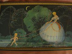 "Vintage 1920's Mary Gold Print ""Love's Cupid"" Original Frame, Art Deco"