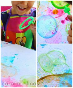 Del Blog Nuestro Mundo Creativo Arte con burbujas de jabón.