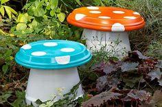Mushrooms from flower pots