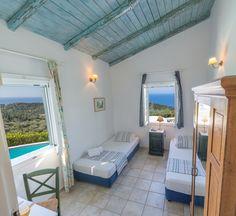 Interior design of villa Myrtia! Island Life, Islands, Greece, Twin, Villa, Interior Design, Bedroom, Greece Country, Nest Design