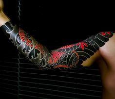 Japanese tattoo sleeve by Japanese Tattoos For Men, Japanese Dragon Tattoos, Traditional Japanese Tattoos, Japanese Tattoo Designs, Japanese Tattoo Art, Japanese Sleeve Tattoos, Arm Tattoo, Wolf Tattoo Sleeve, Dragon Sleeve Tattoos