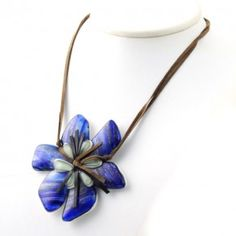 Vetrofuso by Daniela Poletti necklace blue Hibiscus flower