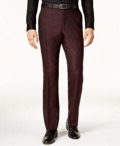 Perry Ellis Men's Slim-Fit Burgundy Tonal Grid Suit - Red 48R