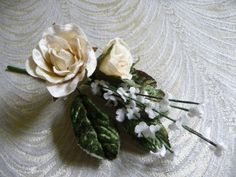 Velvet Roses Ivory with Millinery Leaves and Forget Me Nots Cluster for Weddings Hats Corsages 3FN0074I