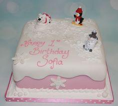 Winter themed 1st birthday cake