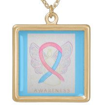 Pink and Blue Awareness Ribbon Jewelry Necklace