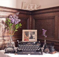 Dark wood and vintage decorations.