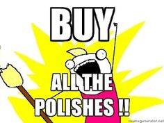 Yes, this is me.  I think I can officially call myself obsessed, since I personally own more polishes for my own use than my day spa owns for all of our clients' use.  Yea, that's me.