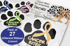 Cancer Bites® Pet Awareness Decals (All Cancers Package)