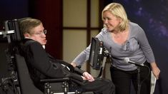 """Lucy Hawkings (right) touches her father Stephen Hawking (left) as they give a lecture entitled """"Why We Should Go Into Space"""" during the 2008 Years of NASA"""" lecture series at George Washington University in Washington, DC. History Of Time, Neurone, University Of Washington, Albert Camus, George Washington, Washington Dc, Physicist, Nasa, Stars"""