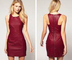 leather bodycon dress