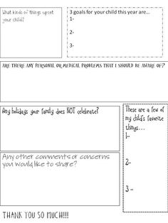 Ask parents to fill out this information page  for teachers when school starts.