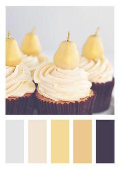 Color Scheme | Deep Purplish-Brown, Yellow and Gold, Cream and Light Grey