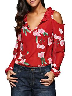 This pin links to online retailer Gamiss.com. If you click the link and purchase something, I may receive a commission from Gamiss as compensation for sending them your custom. Your price won't be affected! Retro V-Neck Flare Sleeve Flounced Floral Cut Out Women Chiffon Blouse - Red.