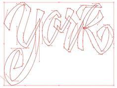 Vector lettering techniques: rectangle technique, crossover, etc.