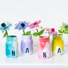 Make something special for Nana this year with these water-colored inspired Mason Jars and colorful paper flowers. Easily create this project with your kids to give to their grandma on Mother's Day for the perfect gift your loved one will cherish for years to come. Mason Jar Crafts, Mason Jars, Diy Craft Projects, Diy Crafts, Craft Ideas, Mothers Day Crafts For Kids, Nana Gifts, Types Of Craft, Mother's Day Diy
