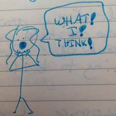 """I'm not sure if her hands are raised in horror or as a megaphone. I drew them as """"OMG what'd I just say"""" but they came out looking like she's shouting for emphasis."""