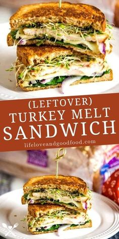 Use leftover Thanksgiving turkey to make this deliciously unique Turkey Melt Sandwich with fresh veggies, turkey, and Monterey Jack cheese.