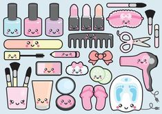 Premium Vector Clipart - Kawaii Beauty Clipart - Kawaii Beauty Clip art Set - High Quality Vectors - Instant Download - Kawaii Spa Clipart