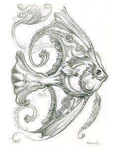 Art of Jeff Haynie: fish drawings