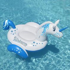 Swimline Giant Inflatable Magical Unicorn Ride On Swimming Pool Float 90708 Giant Inflatable Unicorn, Pool Floats For Kids, Pool Rafts, Magical Unicorn, Mythical Creatures, Swimming Pools, Blue, Water Toys, Construction