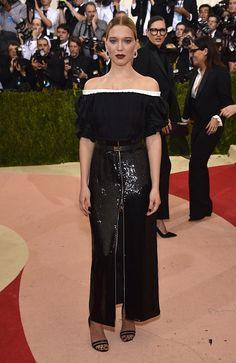 Lea Seydoux attends the 2016 Met Gala wearing custom Louis Vuitton