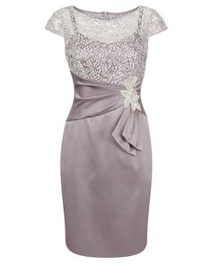 Lotus Sequin Lace & Stretch Satin Dress