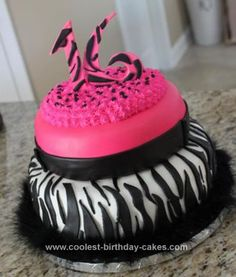 Homemade Sweet 16 Birthday Cake: I made this Sweet 16 birthday cake for a girl turning 16. The zebra print cake was made using two ten inch pans and two eight inch pans. They were chocolate
