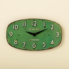Kids' Room Decor: Green Vintage Wall Clock in Clocks
