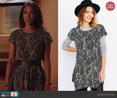 Iris's black and white printed t-shirt dress on The Flash. Outfit Details: http://wornontv.net/41461/ #TheFlash
