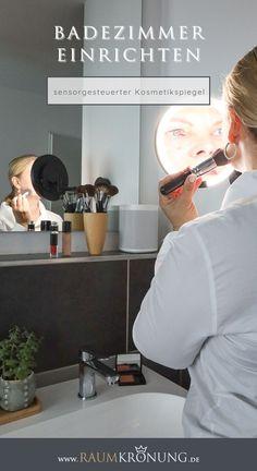 Kosmetikspiegel mit Akku I Beleuchteter Kosmetikspiegel mit Sensortechnologie   #kosmetikspiegel #badezimmer #einrichtungsberatung Boho Vintage, Usb, Hygge, Gym Equipment, Interior, Blog, Decor, Lighted Vanity Mirror, White Interiors