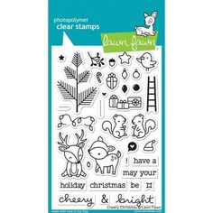 RESERVE Lawn Fawn CHEERY CHRISTMAS Clear Stamps LF1216