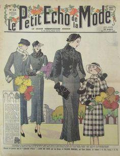 LE PETIT ECHO DE LA MODE N° 44 de 1935 GRAVURE VINTAGE FLEURS TOUSSAINT DEUIL