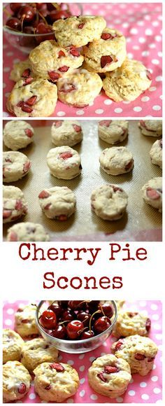 Fresh sweet summer cherries meet a buttery flaky scone. A perfect summer breakfast or treat!