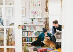 Love this simple and soulful Engagement Session at home by Canary Grey --Wing Ta. So modern and comfy. Look at the whole series. Includes outdoor walking their cute sheltie. In home Library, Minnesota Wedding Photography by Canary Grey.