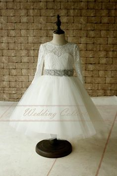 Ivory Lace Tulle Long Sleeves Flower Girl by Weddingcollection