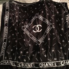 real authentic silk Chanel scarf black & white logo Chanel scarf. can be worn or used on a bag. CHANEL Accessories Scarves & Wraps